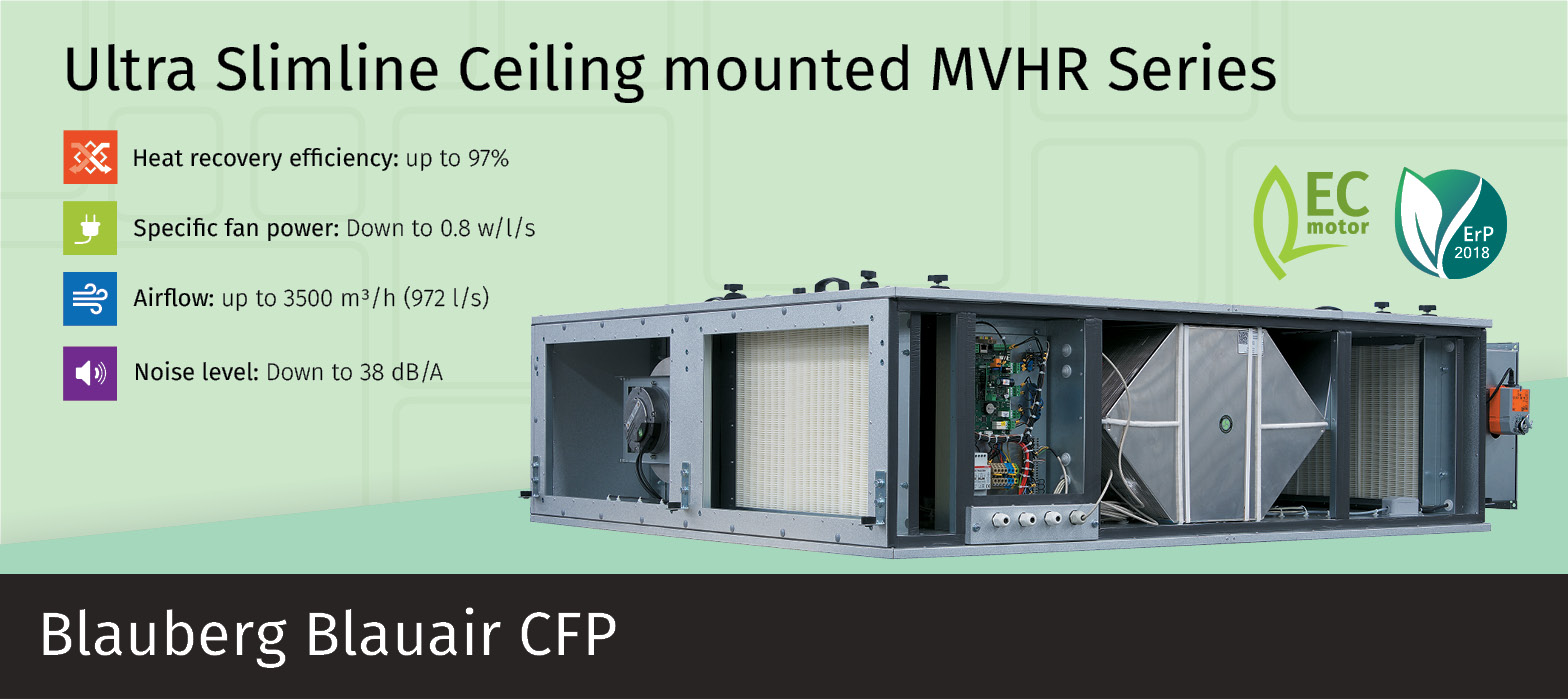 Slim line heat recovery ventilation unit